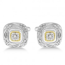Vintage Engraved Diamond Cuff Links 14k Gold & Sterling Silver (0.25ct)