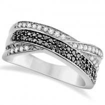 White and Black Diamond Ring Twist Design 14K White Gold 0.50tcw