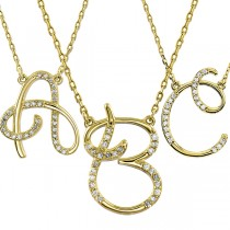 Personalized Diamond Cursive Initial Pendant Necklace 14k Yellow Gold