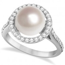 Freshwater Cultured Pearl & Diamond Halo Ring 14K W. Gold (9.50-10mm)