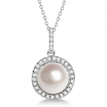 Freshwater Cultured Pearl & Diamond Halo Pendant 14K W. Gold (9.50-10mm)