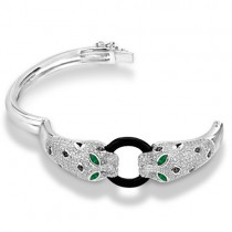 Black Onyx, Emerald & Diamond Panther Bracelet 14K White Gold 3.01ctw