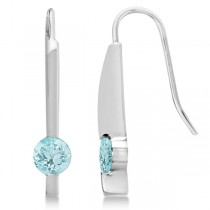 Round Oval Genuine Aquamarine Drop Earrings 14K White Gold 0.90ct