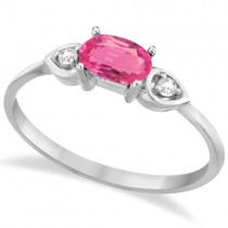Three Stone Diamond and Pink Tourmaline Ring 14K White Gold (0.53ct)