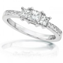 3-Stone Princess Cut Diamond Engagement Ring 14k White Gold 1.00ct