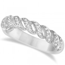 Twisted Wedding Anniversary Band with Diamonds 14K White Gold 0.20ct