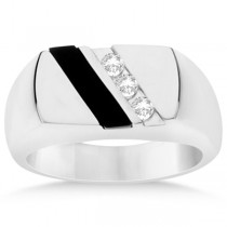 Men's Black Onyx & Channel Set Diamond Ring Sterling Silver 0.10ct