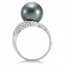 Tahitian Cultured Pearl & Diamond Accent Swirl Ring 14K White (12mm)