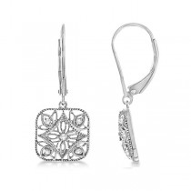Antique Square Diamond Drop Earrings in Sterling Silver (0.10ct)