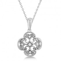 Four Leaf Diamond Clover Pendant Necklace Sterling Silver (0.03ct)