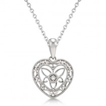 Antique Designer Heart Diamond Pendant Necklace Sterling Silver (0.01ct)