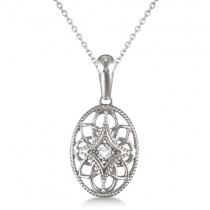 Vintage Style Oval Diamond Pendant Necklace Sterling Silver (0.03ct)