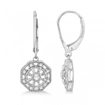 Lever Back Vintage Diamond Drop Earrings Sterling Silver (0.07ct)