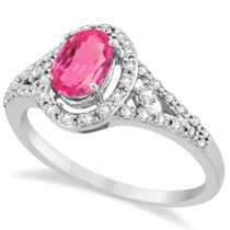 Halo Diamond and Pink Tourmaline Ring 14K White Gold (1.25tct)