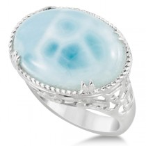 Oval Cabochon Cut Larimar Gemstone Cocktail Ring in Sterling Silver