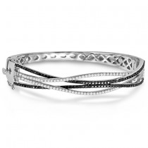 Ladies White & Black Diamond Bangle Bracelet 14K White Gold 2.00ctw