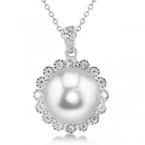 Freshwater Pearl & Diamond Floral Pendant Necklace Sterling Silver