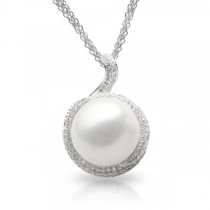 Freshwater Pearl & Topaz Pendant Necklace in Sterling Silver 13-14mm
