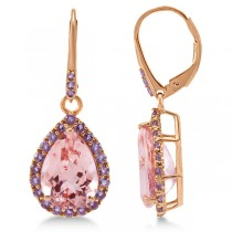 Halo Dangling Amethyst and Morganite Earrings 14k Rose Gold (11.26ct)