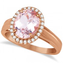 Diamond and Oval Pink Morganite Ring in 14K Rose Gold (2.43ct)