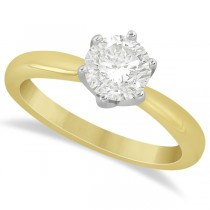 Round Solitaire Moissanite Engagement Ring 14K Yellow Gold 1.00ctw