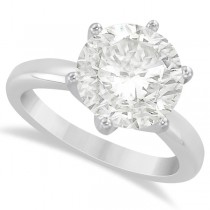 Round Solitaire Moissanite Engagement Ring 14K White Gold 3.00ctw