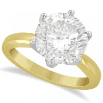 Round Solitaire Solitaire Moissanite Engagement Ring 14K Yellow Gold 3.00ctw