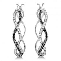White and Black Diamond Hoop Earrings Infinity 14K White Gold  0.51ct