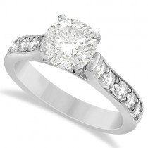 Moissanite Engagement Ring w/ Side Stone Accents 14K White Gold 1.60ctw
