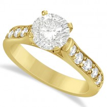 Moissanite Engagement Ring w/ Side Stone Accents 14K Yellow Gold 1.60ctw