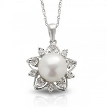 Freshwater Pearl & Diamond Flower Necklace Sterling Silver 9-9.5mm