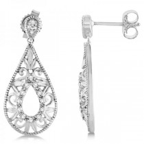 Diamond Accented Pear Shaped Drop Earrings in Sterling Silver (0.10ct)