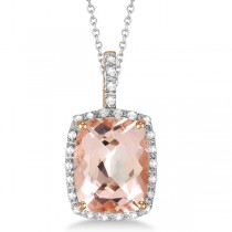 Diamond and Cushion Morganite Pendant Necklace 14k Rose Gold (2.61ct)