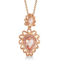 Pink Tourmaline & Morganite Pendant Necklace 14k Rose Gold (3.44ct)