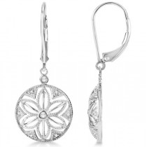 Dangling Diamond Earrings with Floral Design in Sterling Silver 0.08ct