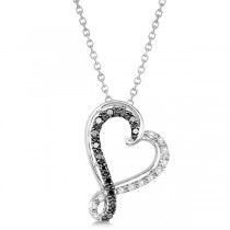Black & White Twisted Diamond Heart Necklace Sterling Silver 0.20ct