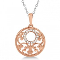 Circle Diamond Pendant Necklace 14k Rose Gold & Sterling Silver 0.10ct