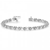 Diamond XOXO Chained Line Bracelet 14k White Gold (0.91ct)