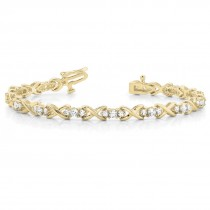 Diamond XOXO Twisted In Line Three Stone Bracelet 14k Yellow Gold (1.95ct)
