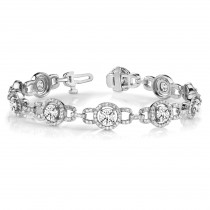 Diamond Halo Luxury Link Bracelet 14k White Gold (4.98ct)