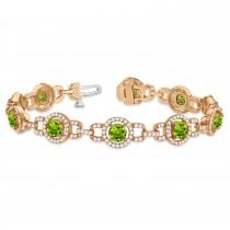 Luxury Halo Peridot & Diamond Link Bracelet 18k Rose Gold (8.00ct)