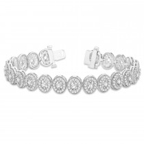 Diamond Halo Vintage Bracelet 18k White Gold (5.01ct)