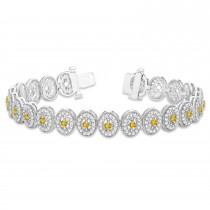 Yellow Sapphire Halo Vintage Bracelet 18k White Gold (6.00ct)