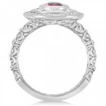 Diamond & Oval Pink Tourmaline Halo Carved Ring 14k White Gold (1.20ct)
