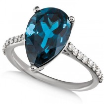 London Blue Topaz Pear Engagement Ring with Diamonds 14k W Gold 0.25ct