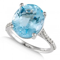 Swiss Blue Topaz Oval Engagement Ring with Diamonds 14k W Gold 0.25ct