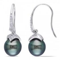 Black Tahitian Pearl & Diamond Drop Earrings 14k W. Gold 9-9.5mm