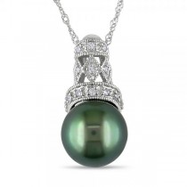 Black Tahitian Pearl w/ Diamond Crown Necklace 14k White Gold 9-9.5mm
