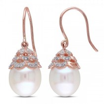 Freshwater Pearl Earrings w/ Diamond Accents 14k Rose Gold 10.5-11mm