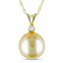 Golden South Sea Pearl Pendant Necklace w/  Diamond 14k Y. Gold 9-10mm